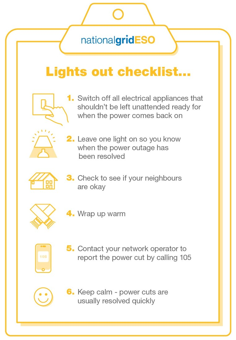 National Grid ESO - What to do in a power cut - power cut checklist infographic