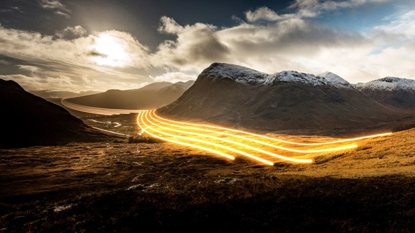 National Grid ESO - glowlines in mountain landscape land